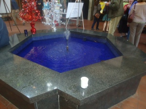 blue water in atrium