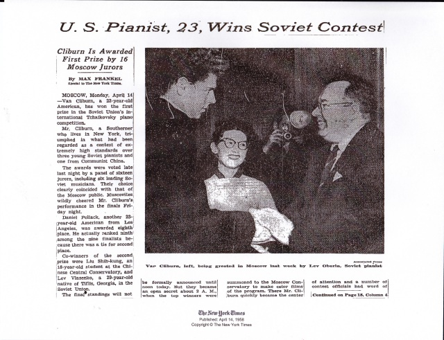 NYT Cliburn page 1
