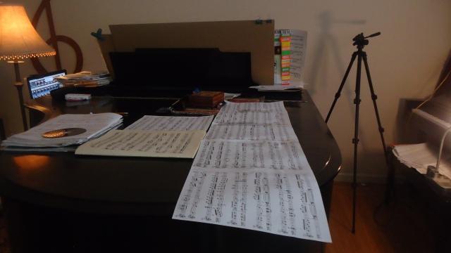 Mozart Sonata in G Presto spread out on piano