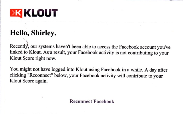 Klout notice