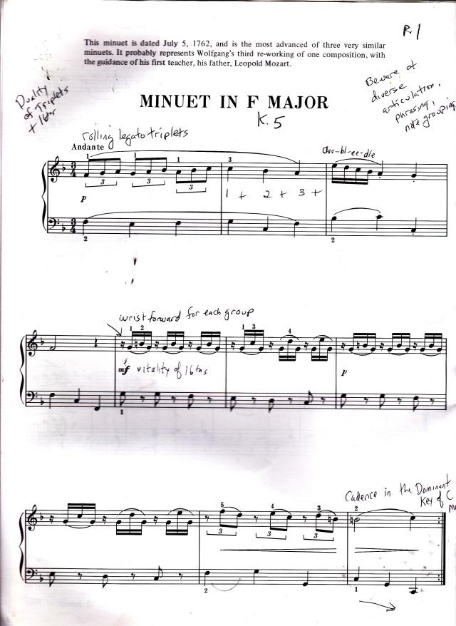 Mozart Minuet in F, K. 5