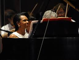 Condoleeza Rice playing the piano