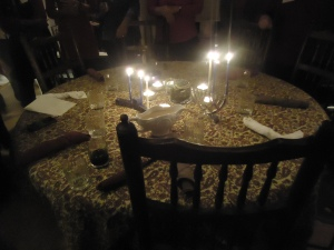 Chanukah candles Thanksgiving table
