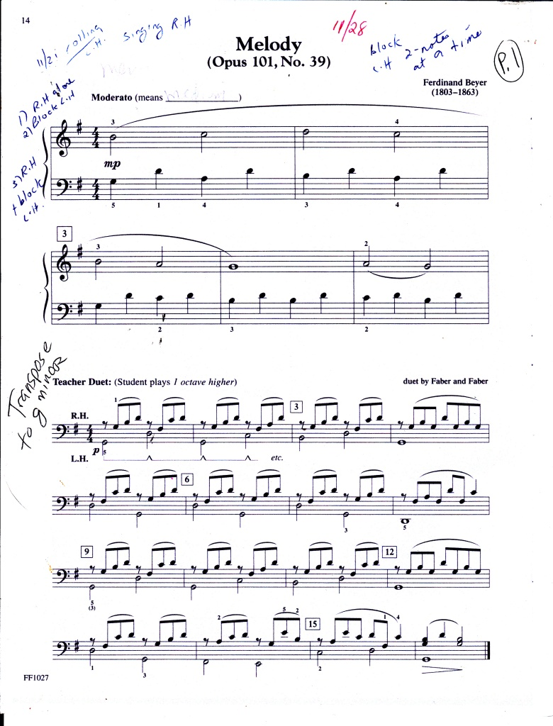 melody by Beyer p. 1