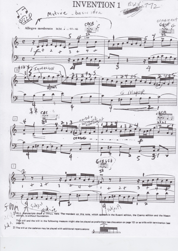 J.S. Bach Invention 1, page 1