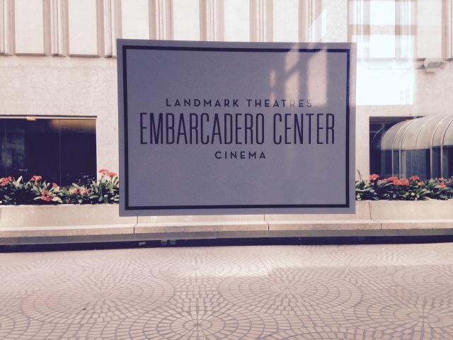 Embarcadero Landmark Theaters purple sign rectangle