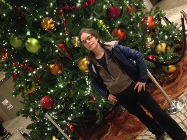 me in front of Christmas tree